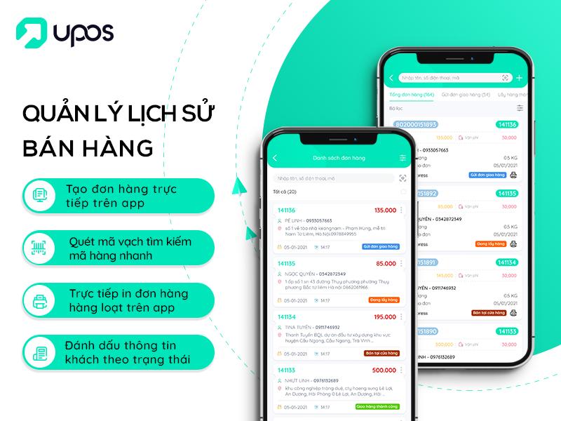 App UPOS hỗ trợquản lý bán hàng từ xa