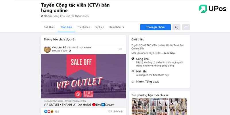 Các hội nhóm tuyển cộng tác viên CTV bán hàng trên Facebook
